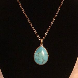 Barse Genuine Turquoise Pendant with Necklace